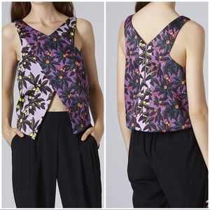 Topshop Purple Berry Blush Print Wrap Top NWT